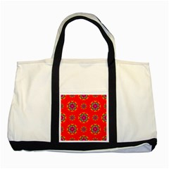 Rainbow Colors Geometric Circles Seamless Pattern On Red Background Two Tone Tote Bag