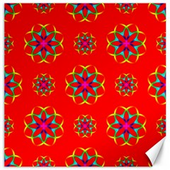 Rainbow Colors Geometric Circles Seamless Pattern On Red Background Canvas 12  X 12   by BangZart