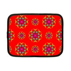 Rainbow Colors Geometric Circles Seamless Pattern On Red Background Netbook Case (small)  by BangZart
