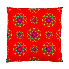 Rainbow Colors Geometric Circles Seamless Pattern On Red Background Standard Cushion Case (two Sides) by BangZart