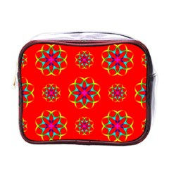 Rainbow Colors Geometric Circles Seamless Pattern On Red Background Mini Toiletries Bags by BangZart
