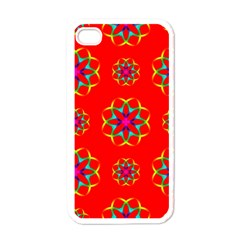 Rainbow Colors Geometric Circles Seamless Pattern On Red Background Apple Iphone 4 Case (white)