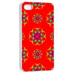 Rainbow Colors Geometric Circles Seamless Pattern On Red Background Apple Iphone 4/4s Seamless Case (white) by BangZart