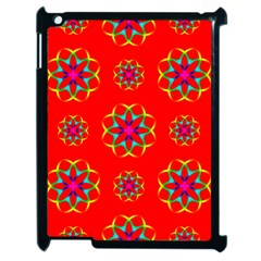 Rainbow Colors Geometric Circles Seamless Pattern On Red Background Apple Ipad 2 Case (black) by BangZart