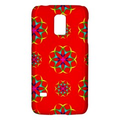 Rainbow Colors Geometric Circles Seamless Pattern On Red Background Galaxy S5 Mini