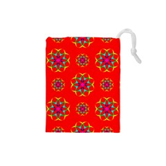Rainbow Colors Geometric Circles Seamless Pattern On Red Background Drawstring Pouches (small)