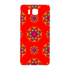 Rainbow Colors Geometric Circles Seamless Pattern On Red Background Samsung Galaxy Alpha Hardshell Back Case by BangZart