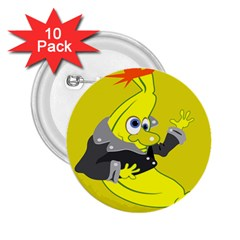 Funny Cartoon Punk Banana Illustration 2 25  Buttons (10 Pack)  by BangZart