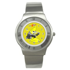 Funny Cartoon Punk Banana Illustration Stainless Steel Watch by BangZart