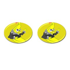 Funny Cartoon Punk Banana Illustration Cufflinks (oval) by BangZart