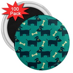 Happy Dogs Animals Pattern 3  Magnets (100 Pack)