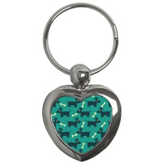 Happy Dogs Animals Pattern Key Chains (heart)
