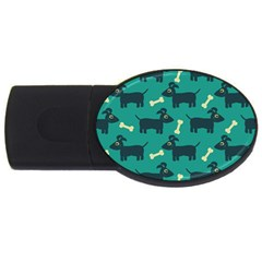 Happy Dogs Animals Pattern Usb Flash Drive Oval (4 Gb) by BangZart