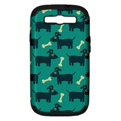 Happy Dogs Animals Pattern Samsung Galaxy S Iii Hardshell Case (pc+silicone) by BangZart