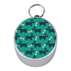 Happy Dogs Animals Pattern Mini Silver Compasses by BangZart