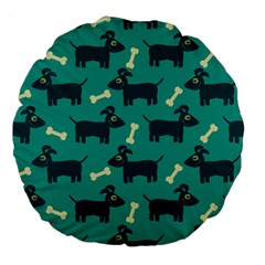 Happy Dogs Animals Pattern Large 18  Premium Flano Round Cushions by BangZart