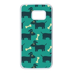 Happy Dogs Animals Pattern Samsung Galaxy S7 White Seamless Case by BangZart