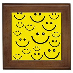 Digitally Created Yellow Happy Smile  Face Wallpaper Framed Tiles by BangZart