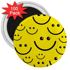 Digitally Created Yellow Happy Smile  Face Wallpaper 3  Magnets (100 Pack) by BangZart