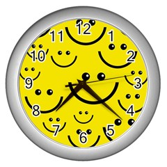 Digitally Created Yellow Happy Smile  Face Wallpaper Wall Clocks (silver)