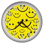 Digitally Created Yellow Happy Smile  Face Wallpaper Wall Clocks (Silver)  Front