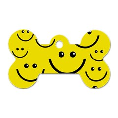 Digitally Created Yellow Happy Smile  Face Wallpaper Dog Tag Bone (one Side) by BangZart