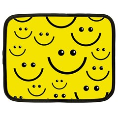 Digitally Created Yellow Happy Smile  Face Wallpaper Netbook Case (large) by BangZart