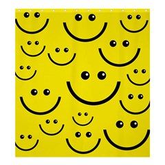 Digitally Created Yellow Happy Smile  Face Wallpaper Shower Curtain 66  X 72  (large)  by BangZart