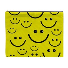 Digitally Created Yellow Happy Smile  Face Wallpaper Cosmetic Bag (xl) by BangZart
