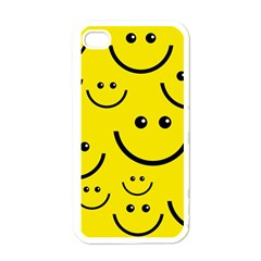 Digitally Created Yellow Happy Smile  Face Wallpaper Apple Iphone 4 Case (white) by BangZart