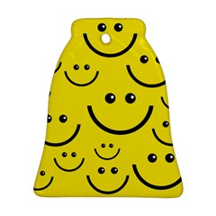 Digitally Created Yellow Happy Smile  Face Wallpaper Ornament (bell) by BangZart