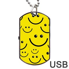 Digitally Created Yellow Happy Smile  Face Wallpaper Dog Tag Usb Flash (one Side) by BangZart