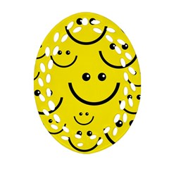 Digitally Created Yellow Happy Smile  Face Wallpaper Oval Filigree Ornament (two Sides) by BangZart