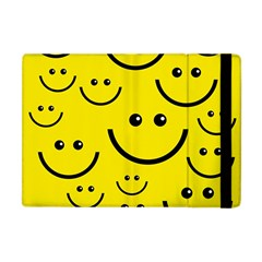 Digitally Created Yellow Happy Smile  Face Wallpaper Apple Ipad Mini Flip Case by BangZart