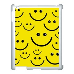 Digitally Created Yellow Happy Smile  Face Wallpaper Apple Ipad 3/4 Case (white) by BangZart