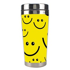 Digitally Created Yellow Happy Smile  Face Wallpaper Stainless Steel Travel Tumblers by BangZart