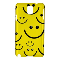 Digitally Created Yellow Happy Smile  Face Wallpaper Samsung Galaxy Note 3 N9005 Hardshell Case by BangZart