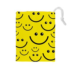 Digitally Created Yellow Happy Smile  Face Wallpaper Drawstring Pouches (large)  by BangZart