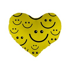 Digitally Created Yellow Happy Smile  Face Wallpaper Standard 16  Premium Flano Heart Shape Cushions by BangZart
