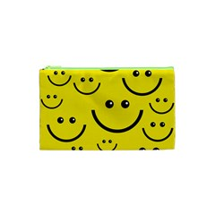 Digitally Created Yellow Happy Smile  Face Wallpaper Cosmetic Bag (xs) by BangZart
