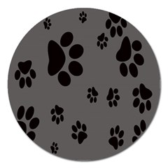 Dog Foodprint Paw Prints Seamless Background And Pattern Magnet 5  (round) by BangZart