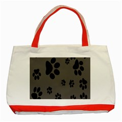 Dog Foodprint Paw Prints Seamless Background And Pattern Classic Tote Bag (red) by BangZart