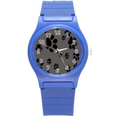 Dog Foodprint Paw Prints Seamless Background And Pattern Round Plastic Sport Watch (s) by BangZart