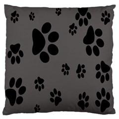 Dog Foodprint Paw Prints Seamless Background And Pattern Large Flano Cushion Case (two Sides) by BangZart