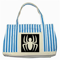White Spider Striped Blue Tote Bag by BangZart