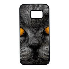Cat Eyes Background Image Hypnosis Samsung Galaxy S7 Black Seamless Case