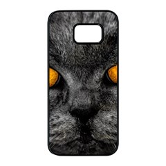 Cat Eyes Background Image Hypnosis Samsung Galaxy S7 Edge Black Seamless Case by BangZart