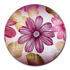 Flower Print Fabric Pattern Texture Round Mousepads by BangZart