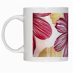 Flower Print Fabric Pattern Texture White Mugs by BangZart