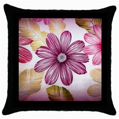 Flower Print Fabric Pattern Texture Throw Pillow Case (black) by BangZart